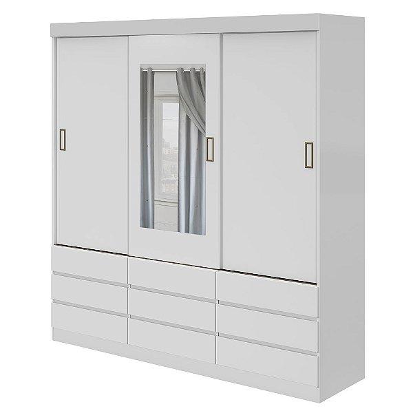 Guarda Roupa Casal 9 Gavetas 3 Portas de Correr com Espelho Branco