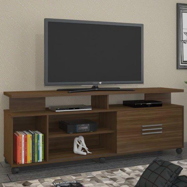 Rack Para TV Com 1 Porta E Prateleira Bario Jcm Movelaria Rovere