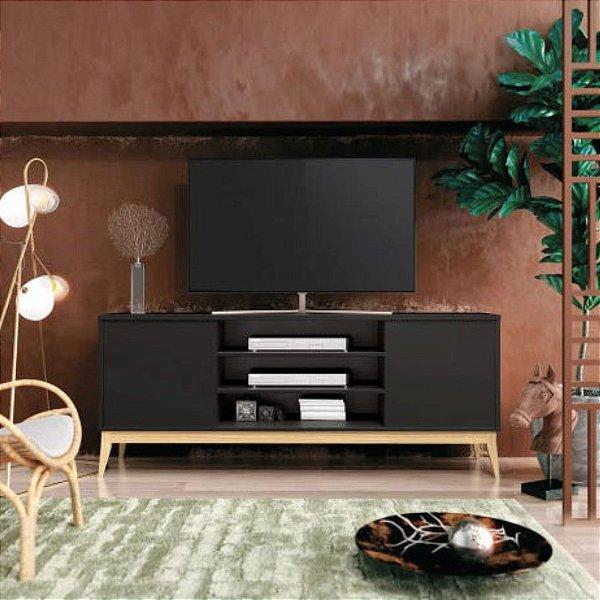 Rack para TV de até 60 Polegadas com pés em madeira Titan Preto