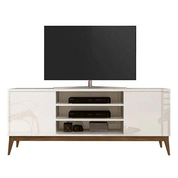 Rack para TV de até 60 Polegadas com pés em madeira Titan Off White
