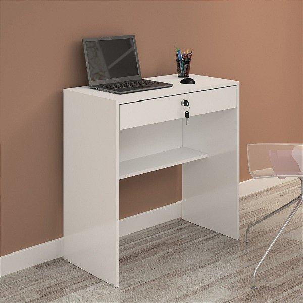 Mesa de Computador com chave 1 Gaveta Andorinha Branco JCM Movelaria