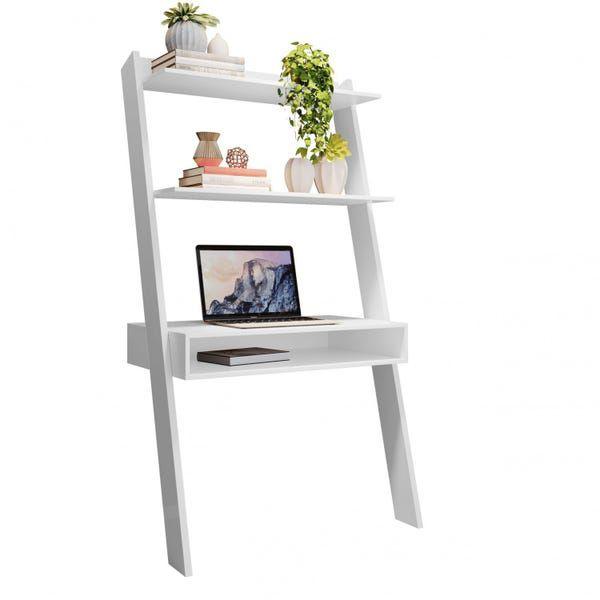 Mesa de Computador 2 Prateleiras Emoção Branco JCM Movelaria
