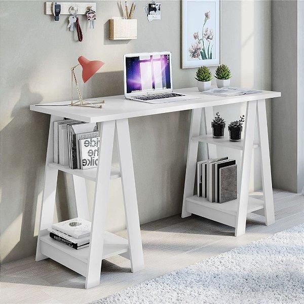 Escrivaninha Cavalete 4 Prateleiras Vigor Branco JCM Movelaria
