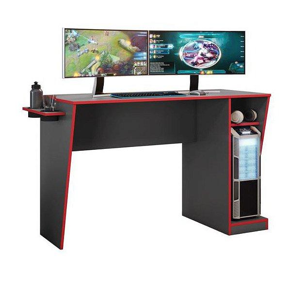 Mesa Gamer com porta copos Cyber Grafite/Vermelho Jcm Movelaria