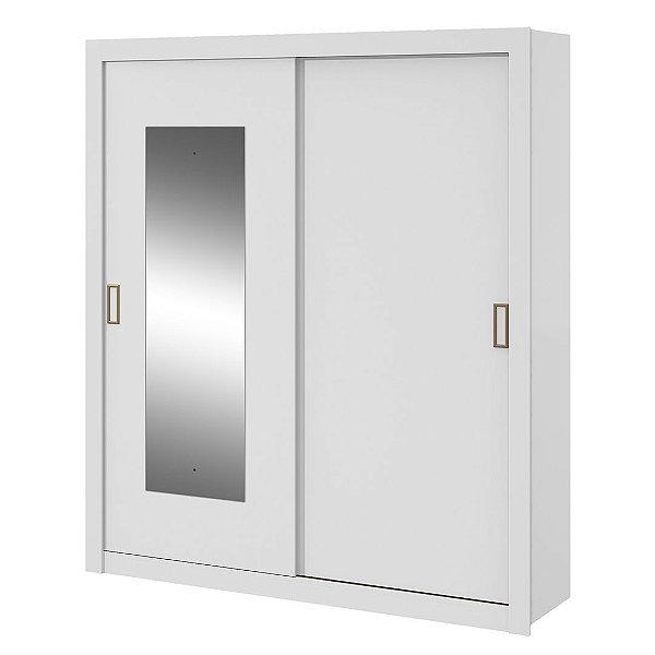 Guarda Roupa 2 Portas de Correr Com Espelho Apoena Branco Móveis Lopas