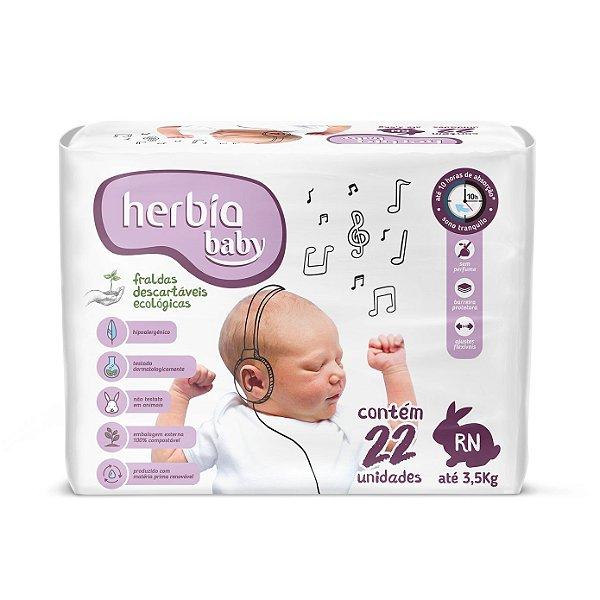 Fralda Ecológica Descartável RN Herbia Baby pacote c/ 22 unid.