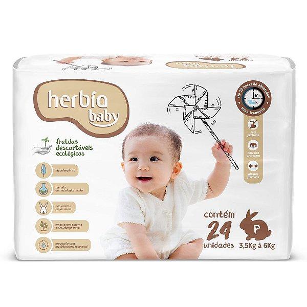 Fralda Ecológica Descartável P Herbia Baby pacote c/ 24 unid.