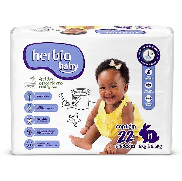 Fralda Ecológica Descartável M Herbia Baby pacote c/ 22 unid.