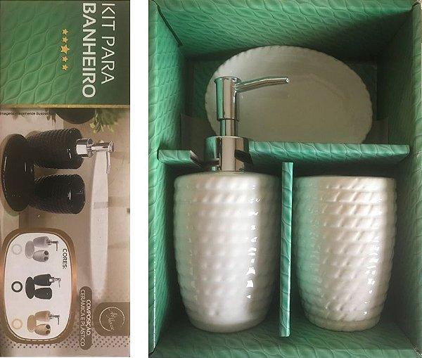 Kit Banheiro Porcelana Quadrado 3 Peças