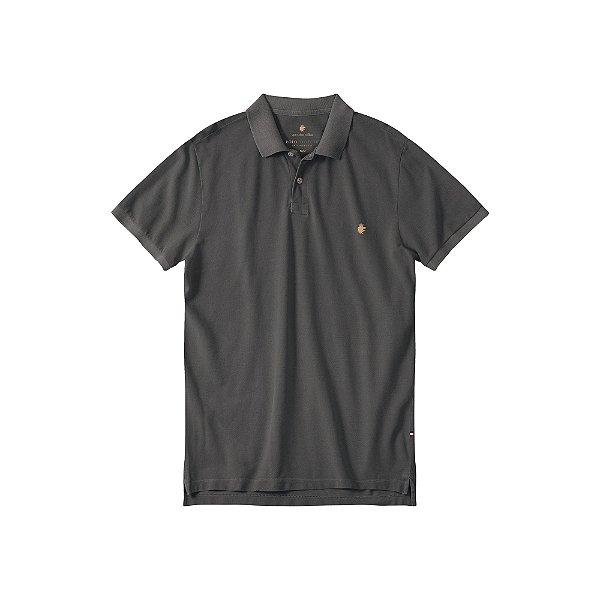 Camisa Polo Masculina Estonada Basis Stone - Preto