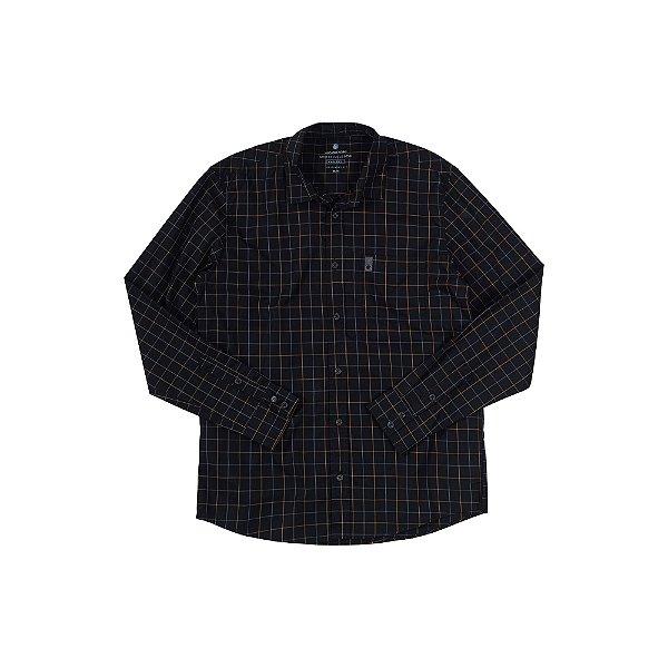 Camisa Xadrez Masculina Manga Longa com Bolso Swell - Preto
