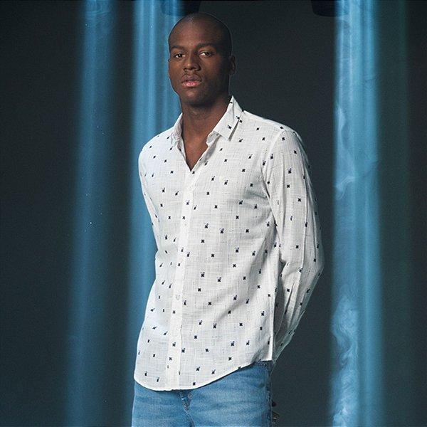 Camisa Masculina Manga Longa Estampa dos Xs de Amsterdam Delft - Branco