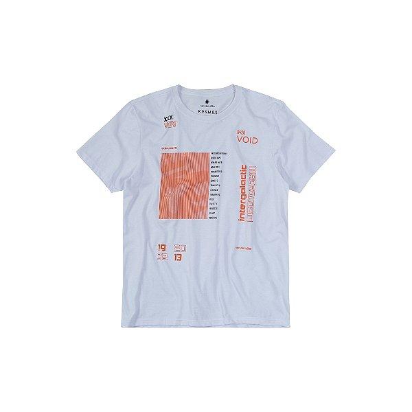 Camiseta masculina estampa frontal lettering intergalactic - Branco