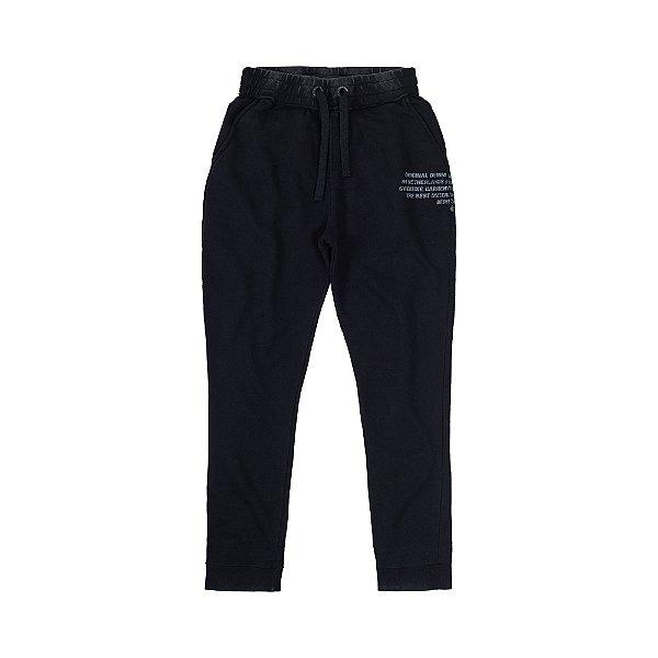Calça de Moletom Marmorizado Masculina com Bolso Faca Kap Brand  - Preto