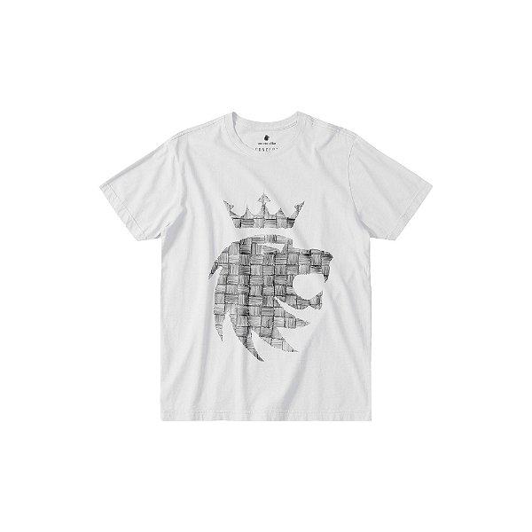Camiseta masculina estampa frontal do leão da Von der Volke - Branco