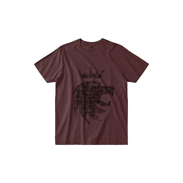 Camiseta masculina estampa frontal do leão da Von der Volke - Bordo