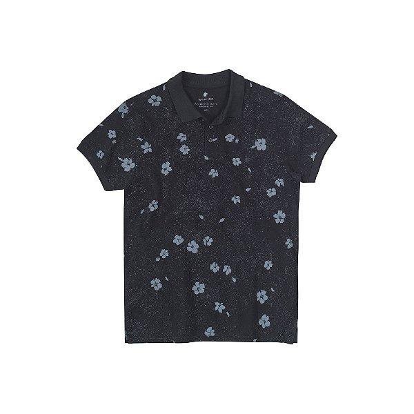 Camisa Polo Masculina com Estampa Floral Jasmine - Preto