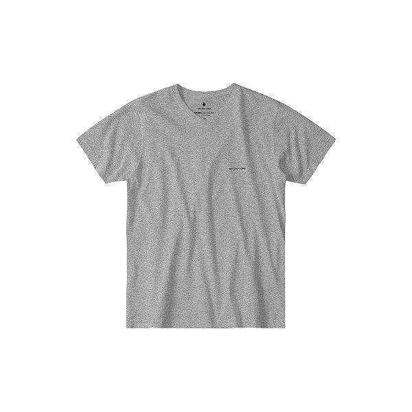 Camiseta básica masculina de gola V - Cinza Mescla