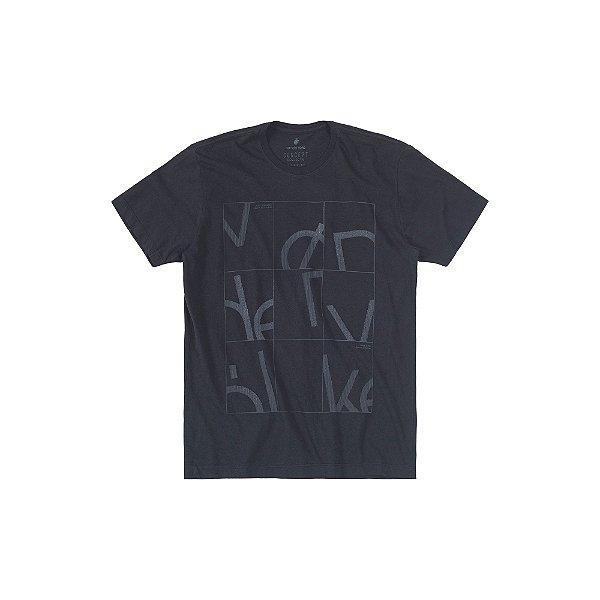 Camiseta Masculina Manga Curta Estampa em Relevo Geo Helief - Preto