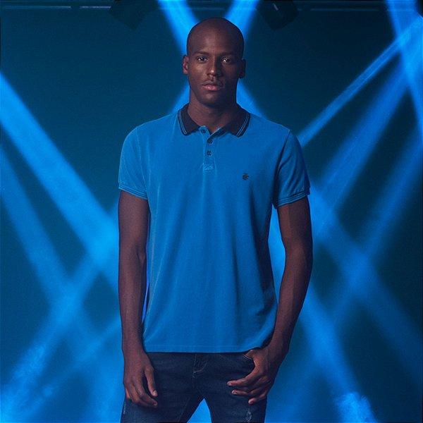 Camisa Polo Masculina Estonada Von der Volke Dusty - Azul