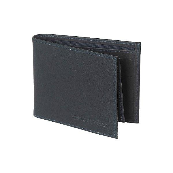 Carteira de Couro com Porta Cartão Destacável Travis - Marinho