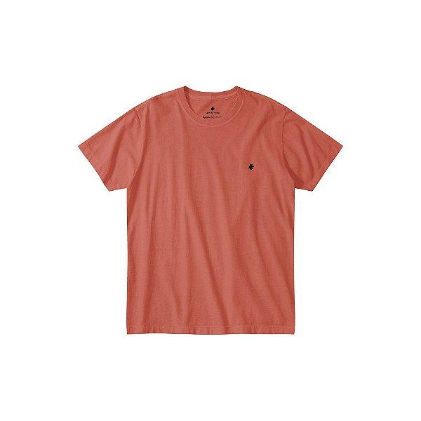 Camiseta básica masculina estonada gola redonda e manga curta - Vermelho