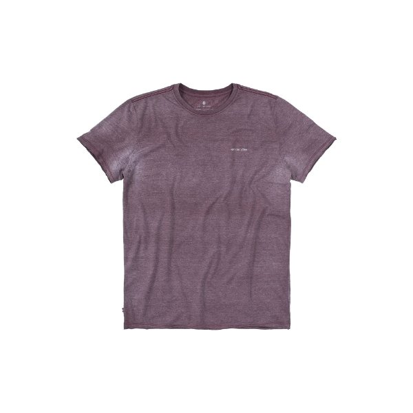 Camiseta básica masculina gola redonda malha mescla e efeito devorê - Bordo