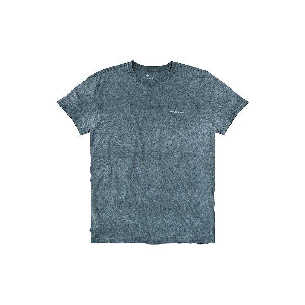 Camiseta básica masculina gola redonda malha mescla e efeito devorê - Verde