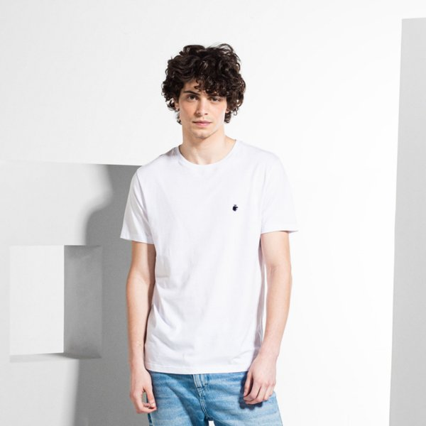 Camiseta Básica Masculina Manga Curta BASIS - BRANCO