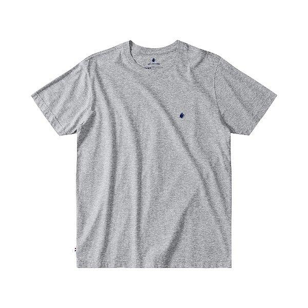 Camiseta Básica Masculina Manga Curta BASIS - CINZA MESCLA