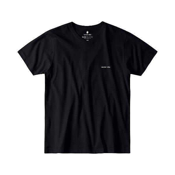 Camiseta Básica Masculina Gola V BASIS V - PRETO
