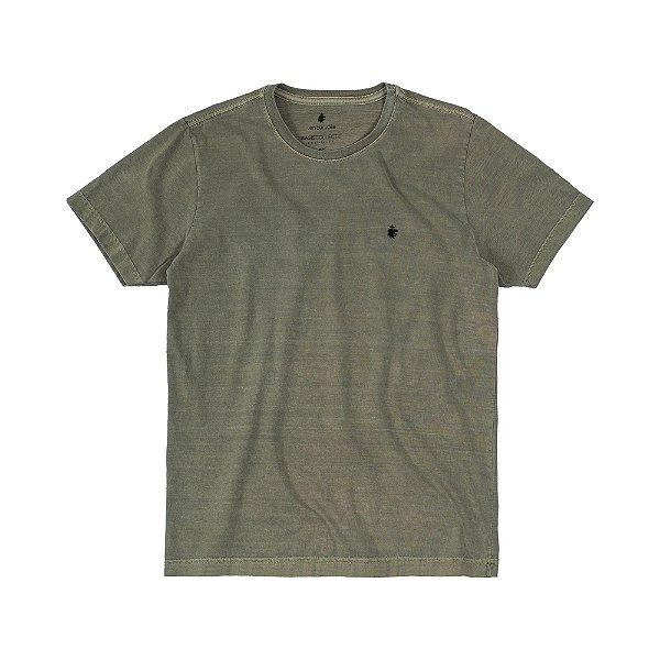 Camiseta Básica Masculina Estonada BASIS STONE - VERDE MILITAR