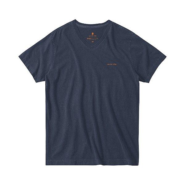 Camiseta Estonada Masculina Gola V BASIS V STONE - MARINHO