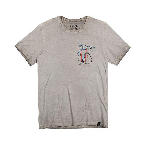 Camiseta Masculina com Estampa Manual BIKE COLOR - AREIA