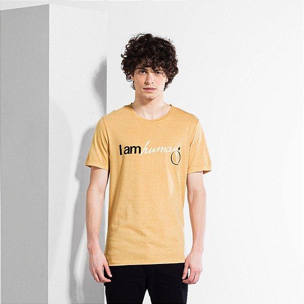 Camiseta Masculina Manga Curta I AM HUMAN - MOSTARDA