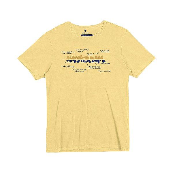 Camiseta Masculina com Estampa Manual AMSTERDAM CITY - AMARELO CLARO