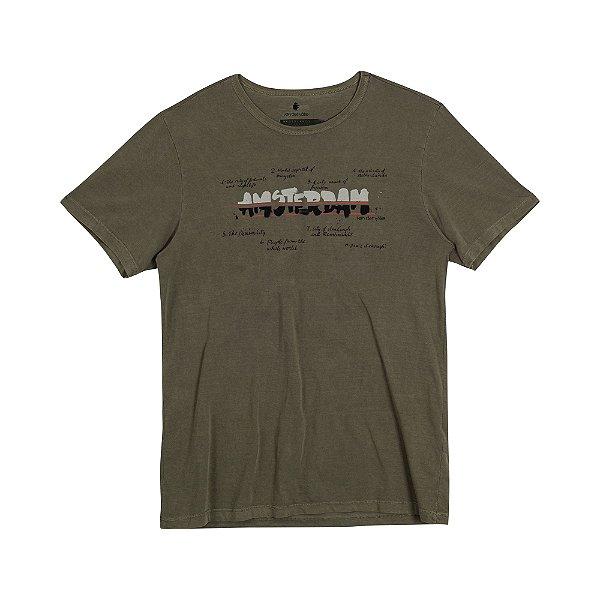 Camiseta Masculina com Estampa Manual AMSTERDAM CITY - VERDE MILITAR