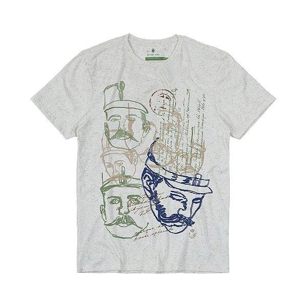 Camiseta Masculina com Estampa Manual VOLKE FACES - NATURAL