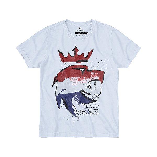 Camiseta Masculina com Estampa Manual LION NEDERLANDS - BRANCO