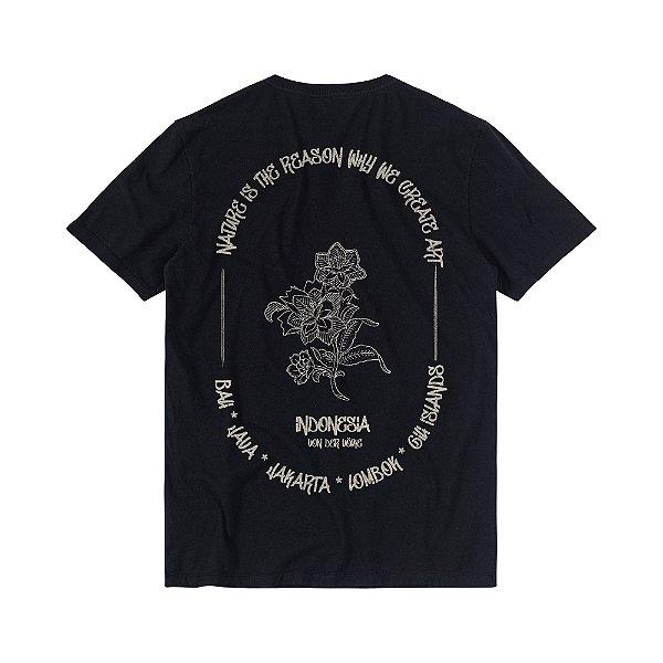 Camiseta Masculina com Estampa Manual T-SHIRT INDONESIA - PRETO