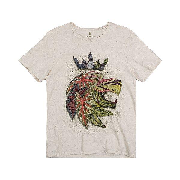 Camiseta Masculina Manga Curta LION LEAVES - NATURAL