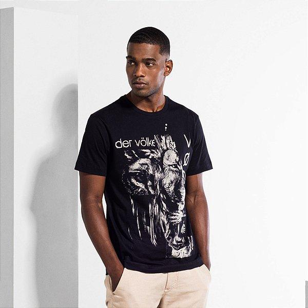 Camiseta Masculina com Estampa Manual T-SHIRT LION FLAMES - PRETO