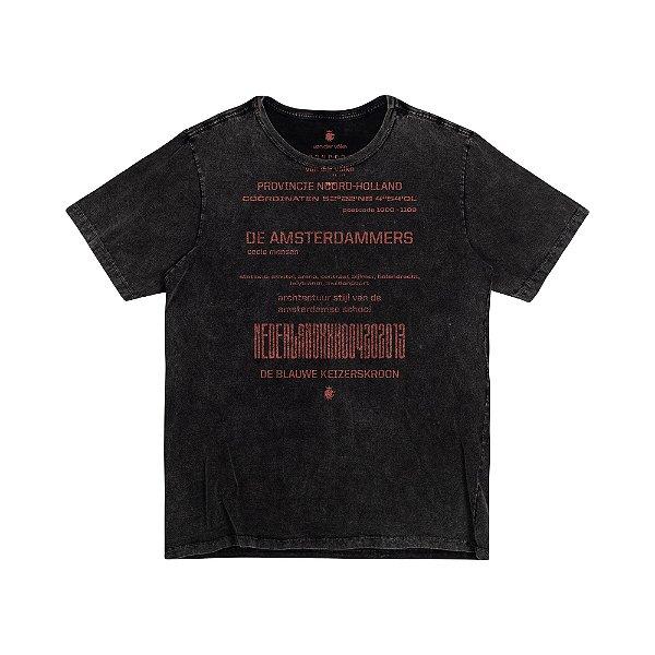 Camiseta Masculina em Tecido Marmorizado AMSTERDAMMERS - PRETO