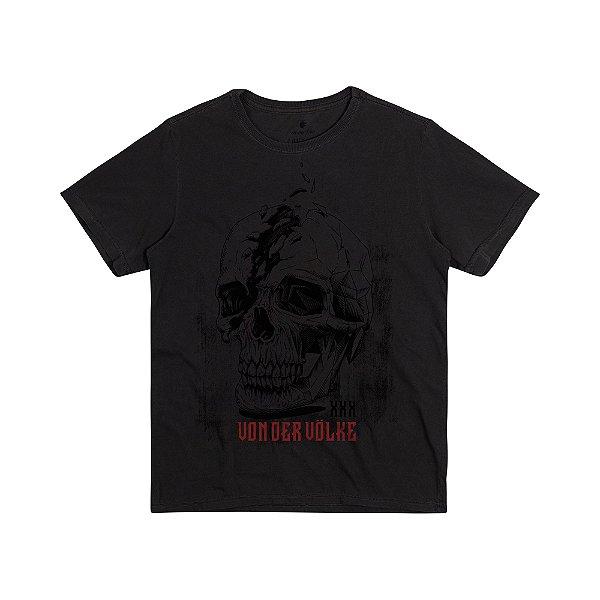 Camiseta Masculina com Estampa Manual CONCEPT SKULL - PRETO
