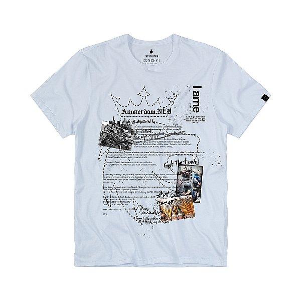 Camiseta Masculina com Estampa de Colagens LION GREAT - BRANCO