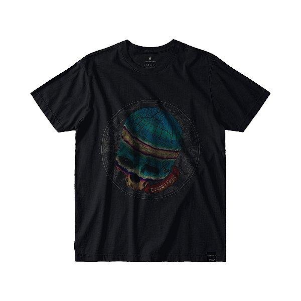 Camiseta Masculina Estampa de Caveira GLOBE SKULL - PRETO
