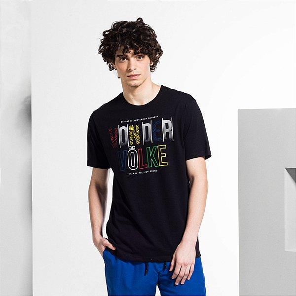 Camiseta Masculina Manga Curta LETT COLOR - PRETO