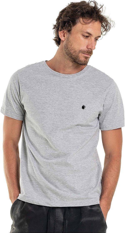 Camiseta Masculina Básica Gola Redonda Malha Algodão - Cinza Mescla