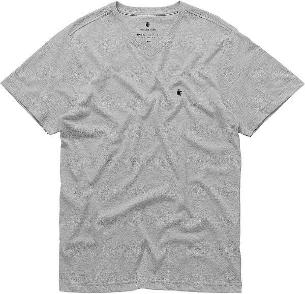 Camiseta Masculina Básica Gola V Malha Algodão - Cinza Mescla