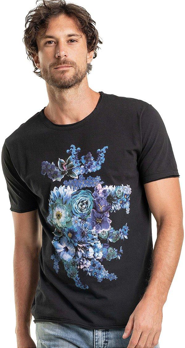 Camiseta Estampa Leão Floral Gola Redonda Malha Algodão - Preto